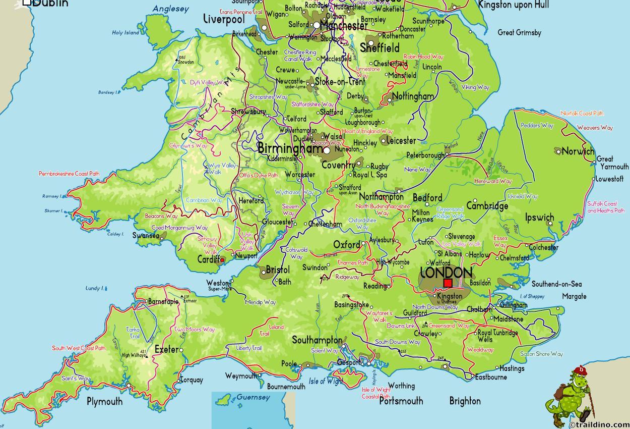 Kaart Van Zuidoost Kust Van Engeland Kaart Van Zuid Oost Kust