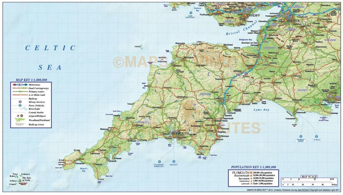 Zuid West Engeland Kaart Kaart Van Verenigd Koninkrijk Zuid West